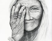 Portrait Drawing Pencil, Old Lady, Woman, Wrinkles, Illustration, Reproduction Print of Original Drawing