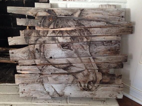 """Pallet art, """"Wood Burned Horse"""" on a wooden pallet, original wall art"""