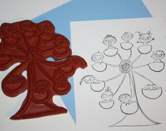 "Ferris Wheel red rubber art stamp approx. 4 1/4"" X 3 3/4"" fun  kids carnival ride card making paper goods"