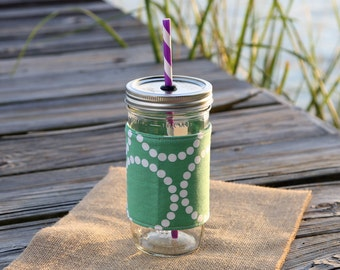Mason Jar Tumbler 24 oz   Mason Jar To Go Cup   BPA Free Lid and Straw   Free Personalization   Light Green Pearl Bracelets