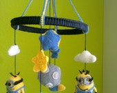 Rocket, Sun, Planet, Mobile, white, green, grey, yelow and blue - Baby mobile,baby crib mobile, space rocket , space ship mobile, planet mob