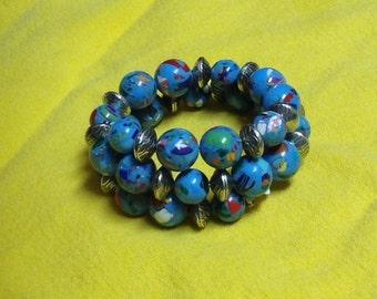 Turquoise Blue Mosaic Cuff Bracelet