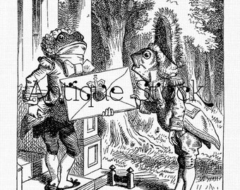 Alice's Adventures in Wonderland - The Fish Footman and the Frog Footman 1865 - Digital Download for Altered Art, Collages, Invites, Cards..