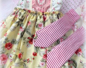 READY TO SHIP!  Girls/Toddlers Adorable, Whimsical Spring Shabby Chic Brother/Sister Photo  Dress and matching Bow Tie