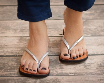 Silver Sandals, Silver Flip Flops, Summer Shoes. Flat Sandals , Free Shipping