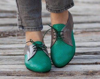 Green Leather Shoes, Green Oxford Shoes, Close Shoes, Flat Shoes, Green and Grey Oxford Shoes , Free Shipping