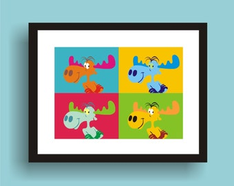 Bullwinkle - Pop Art Original Print by C Wiedenheft comes with a white mat and ready to frame.