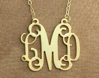 Monogram Necklace -  1.75 inch Personalized Monogram Necklace - Gold Monogram Necklace - 3 initial monogrammed