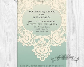 Lace Engagement Party Invitation Printable Digital File No341