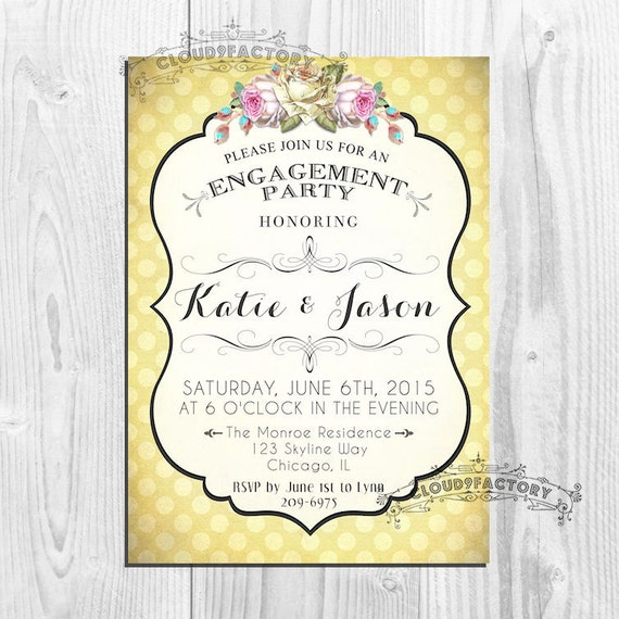 Printable Engagement Party Invitations, Digital or Printed Invites, Yellow Shabby Chic Polka Dots, Wedding Shower, Bridal Shower Baby Shower