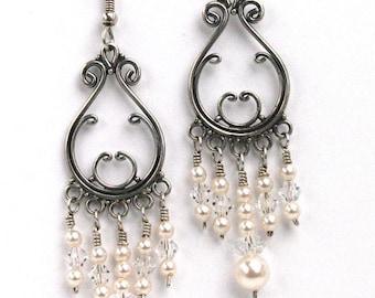 Sterling silver and pearls Chandelier earrings