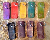 Custom personalized leather key chain key fob. Hand stained and waxed