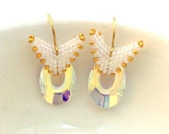 Beaded Swarovski Earrings / Gold Beaded Earrings