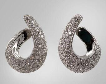 925 Sterling silver and pavé CZ teardrop swirl earrings