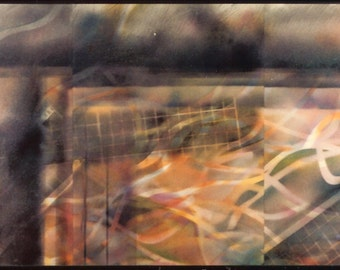"Original ABSTRACT Painting ""Redemption"" [24x52""] Spray enamel on paper, under glass"