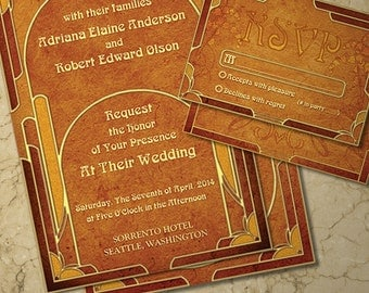 Art Nouveau Inspired Wedding Invite and RSVP Cards-Front and Back-Wedding Suite-Digital Printable Files