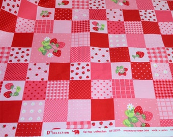 Strawberry Fabric D's Selection Tip Top Collection Japanese Fabric by Fumika Oishi - one piece - 70cm