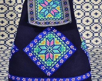 Ethnic Handmade Embroidery Backpack, Tribal Bag, Ethnic Bag, Style 5:Green