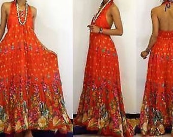 NEW Vtg FLORAL SILK Trim Prom Halter Gown Maxi Dress