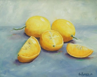 """8x10 Giclee Archival Print by artist Laurie Schena - """"California Lemons"""""""