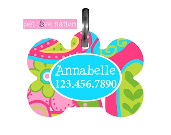 Personalized Pet Tag, Dog Tag, ID Tag, Preppy Pet Tag With Name And Phone Number