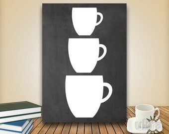 Teacup Art,KITCHEN Printable,Chalkboard Printable,Teacup Stack,Instant download,Kitchen Wall Art,Kitchen Art Print,Modern Home Decor