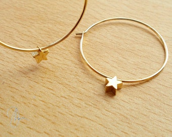 Gold Star Hoop Earrings - Gold Plated Simple Tiny Star Thin Hoops - Dainty Delicate Minimalist Earrings -Everyday Minimal Style Jewelry Gift