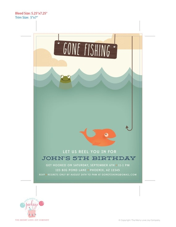 Gone Fishing Birthday Party Invitation