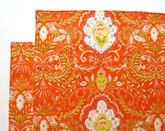 Large Cloth Placemats - Set of 2 - Red Orange Ikat Design -  Reversible