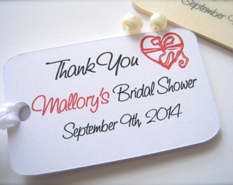 Bridal shower favor tags, shower thank you tags, custom favor tags, favor labels - 30 count
