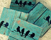 Rustic Coasters--Teal Wood Tile with Birds...set of 4