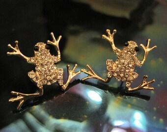 Gold Frog Earrings - Stud Earrings - Rhinestone Frog Earrings - Frog Earrings - Frog Earrings - Animal Jewelry