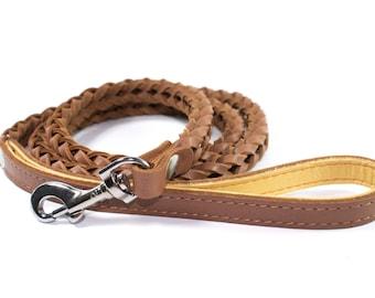 Braided Leather Dog Leash Large Black Brown Genuine