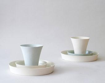 SALE 10% OFF: Porcelain Cup, Saucer, and Dessert Plate, 3 piece porcelain set, Contemporary Ceramics, Modern Ceramics