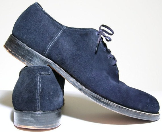 vintage mens shoes 1950s mens oxford blue suede by validheart