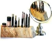 Live Edge Spalted Red Elm Makeup Organizer Cosmetic Wood Display Vanity Holder
