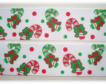 "PEPPERMINT CANDY CANES Christmas Grosgrain Ribbon - 7/8"" & 1.5"" - Oh My Gosh Goodies"