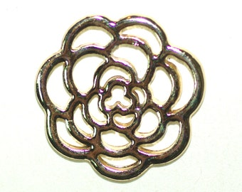 3 Flower Charms Pendant Gold Plated 23x23mm Including Loop