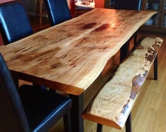 Live edge Ontario reclaimed wood dining table