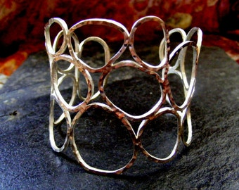 Silver Wide Cuff hammered Circles  silver bracelet