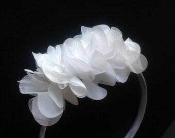 Flower Girl Headband -White Flower Headband-Ruffle Chiffon Flower Headband-Flower Girl Hair Piece-Satin Cover Headband-Flower Girl Headpiece