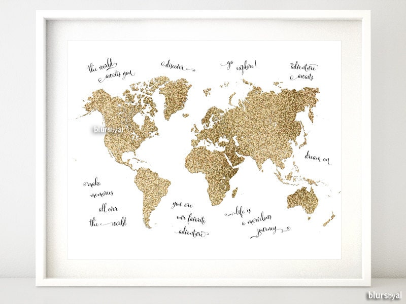 10x8 printable world map gold glitter map gold map with