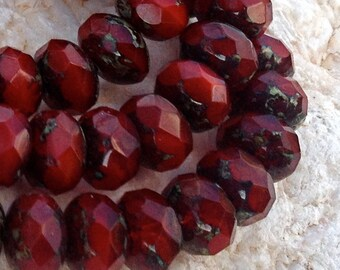 Deep Red Czech Artisan 6 x 9 mm Faceted Rondelle Rondell Picasso Beads