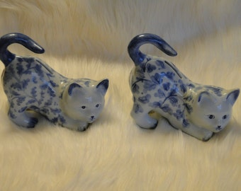 Two Vintage Cat Coin Banks in Blue and White Porcelain