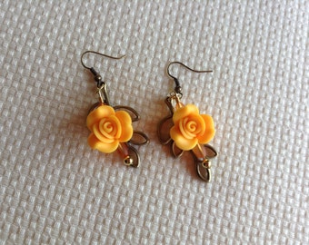 Tangerine Rose Earrings with Gold Leaf Backdrop