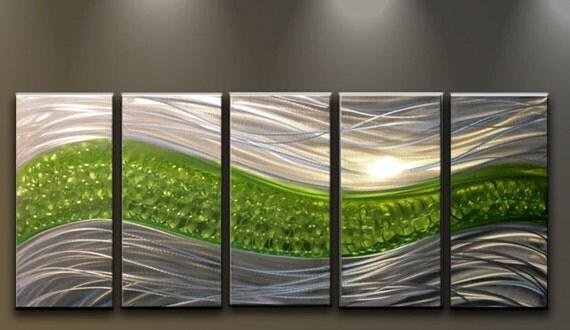 Metal wall art modern abstract sculpture by matthewsgalleryart for Green wall art