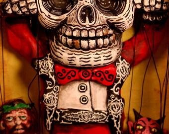 Beautiful Mortal Dia De Los Muertos Skeleton Puppeteer PRINT 523 Reproduction