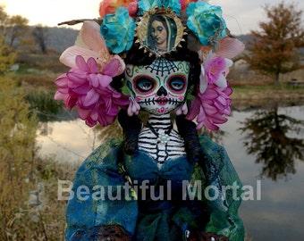 Beautiful Mortal Mysterious Dia De Los Muertos Flower Doll Canon PRINT 536 Reproduction by Michael Brown