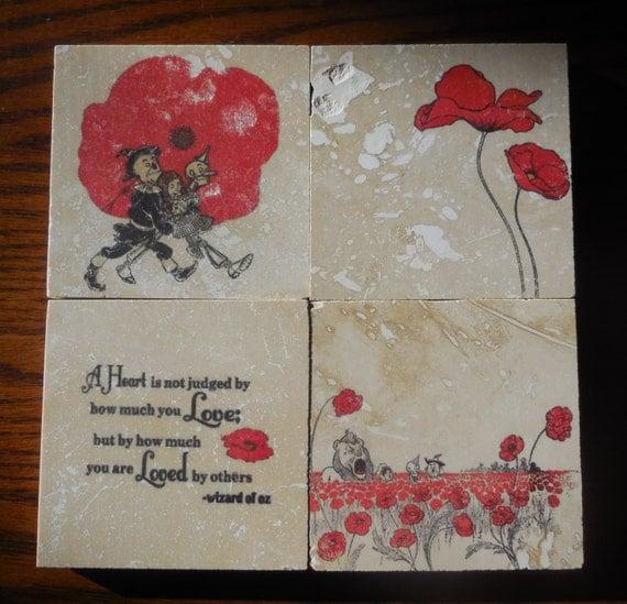 The Wonderful Wizard of Oz Coasters - Poppies - Love - Friendship
