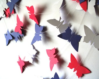Paper Butterfly GARLAND backdrop - Purple Pink wedding garland - Bridal shower decor - Party garland - Paper mobile - Wedding mobile